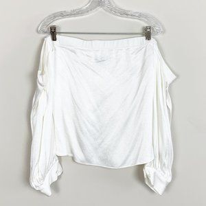 1.State | white satin off the shoulder top medium